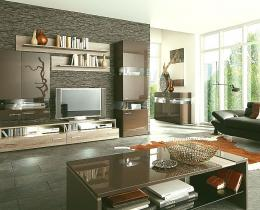 modern cozy living room pinterest with lounge black leathers sofa and elegant cabinet TV plus cool stone wall texture design